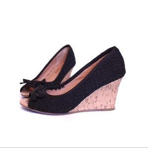 Report black cork wedge heel size 6